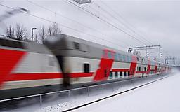 Поезд РЖД зимой