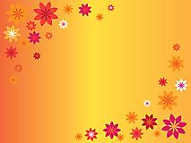 Цветы на оранжевом фоне