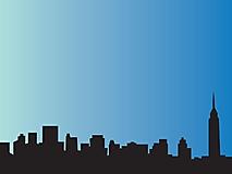 Силуэт города на голубом фоне