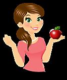 Ученица с яблоком