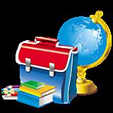 Портфель, глобус, книги
